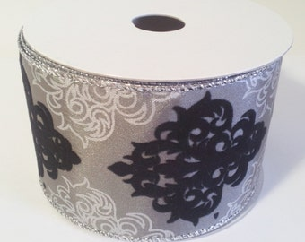 "2 1/2"" Wired Polyester Velvet Damask Ribbon - Silver - 10 Yards"