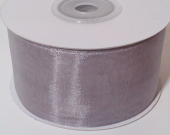 "1 1/2"" Sheer Organza Ribbon - Silver - 25 Yards"