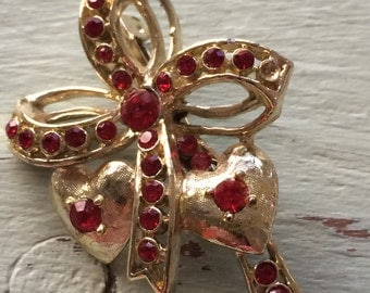 Valentine Brooch,  Heart Brooch, Red Rhinestone Brooch, Heart and Bow Brooch, Heart Pin, Valentine's Day