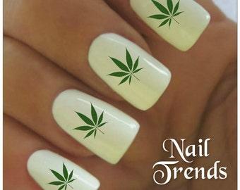 Marijuana nail art etsy cannabis nail decal 20 marijuana vinyl adhesive decals nail tattoos nail art prinsesfo Image collections
