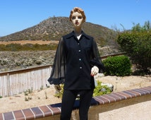 1970's Vintage Woman's Black Evening Blouse, Long Puffy Shear Sleeves,  Buttons Down Front With Colorful Rhinestone Buttons, Woman's Size 8