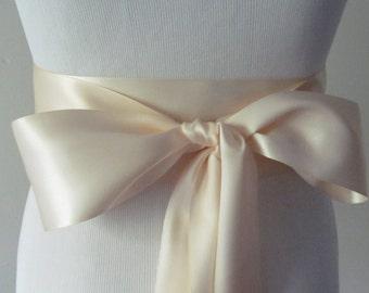 True Nude Ribbon Sash / Double Faced Ribbon Sash / Bridal Sash / Bridal Ribbon / Nude