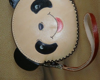Genuine leather change Purse, wristlet wallet, round shaped ,lovely Panda face.