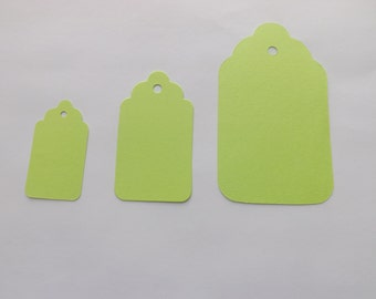 Lime Green Scallop Tags - Gift Tags - Favor- Scrapbooking - Die Cut - Set of 75 - Embellihsments - Hang Tags