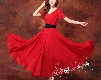 60 Colors Double Chiffon Red Long Party Dress Short Sleeve Evening Wedding Sundress Summer Holiday Beach Dress Bridesmaid Maxi Skirt