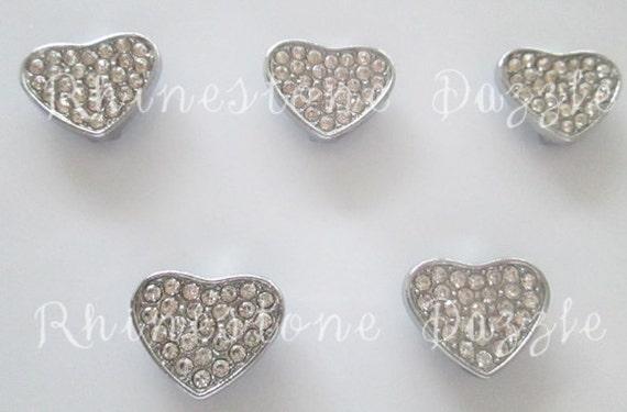 rhinestone 8mm slide charms silver slider charm
