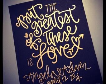 1 Corinthians 13:13 Wedding Print - Black / White / Gold Font