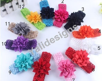 U Pick Wholesales Chiffon Flower Headband Baby Headbands. Crochet Soft Newborns Headbands. Girl's Headband YTH26