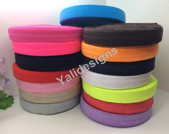 25 Yards U Pick 5/8'' Fold Over Elastic (FOE)-Muti-Color-Environmental Band-High Quality!