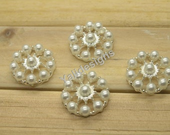 U Pick! 10pcs 23mm Pearl Rhinestone Round Button Handmade Metal Bead Rhinestone Jewelry Accessories YTB46