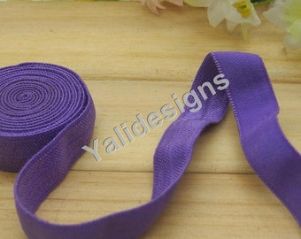 10 Yards 3/8''  Purple Elastic Headband Baby Hairbow Soft Foldover Elastic Binding Webbing Tape Craft Sewing  - YTA13