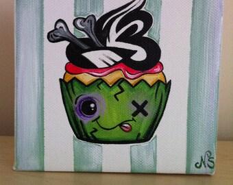 zombie cupcake 5x5 inch chunky canvas