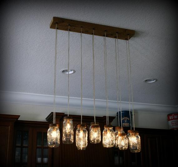 14 light diy mason jar chandelier rustic cedar rustic wood for Diy rustic pendant light
