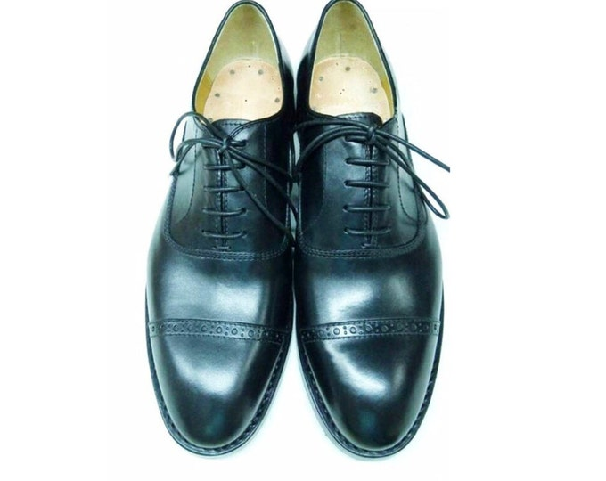 Handmade Goodyear welted Men's Oxford Shoes,Leathern Lining and Sole