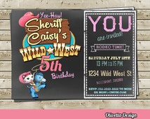 Sheriff Callie Invitation for Birthday Party Cowboy Wild West- Digital File - Chalkboard Style