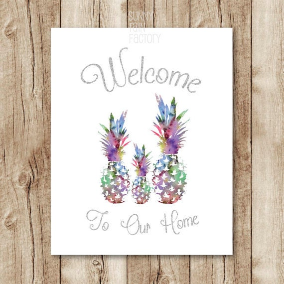 Printable Welcome Home Sign: Pineapple Welcome Sign Printable, Home Sign Download