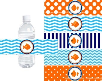 Goldfish Beach Party, Pool Party Water Bottle Labels - INSTANT DOWNLOWD - DIY Printable Digital File