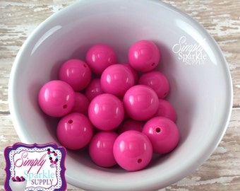 True Hot pink chunky beads 20mm Bubblegum beads, Gumball bead