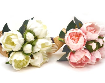 Stemple's  White or Pink Real Touch Artificial Peonies