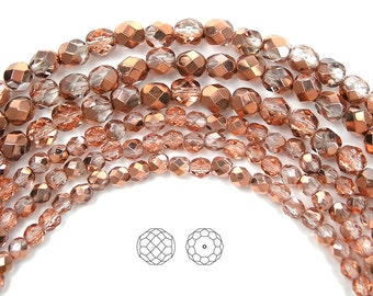 Crystal Capri Gold Half coated, Czech Fire Polished Round Faceted Glass Beads, 3mm, 4mm, 6mm, 8mm and 10mm, 16 inch strands