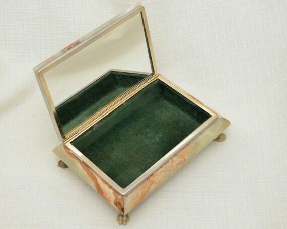 Vintage G S E Ottone Garantito Italian Onyx Trinket Box On