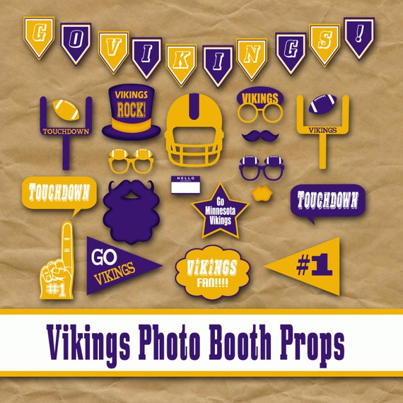 Minnesota Vikings Football Printable Photo Booth Props