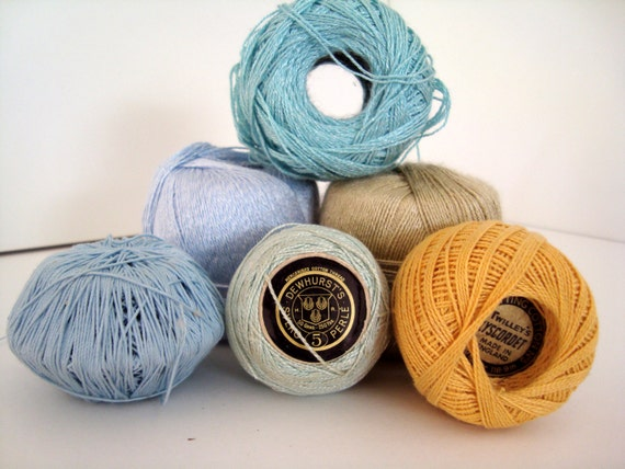 Crocheting Jobs : Cotton Crochet Yarns Job Lot Beautiful blue and yellow co...