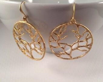 Matte 14K Gold Organic Branch Earrings