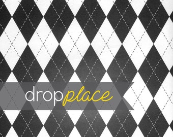 Durable Matte Vinyl Backdrop Black and White Argyle Background Engagement Party Bridal Shower Photo Booth (Multiple Sizes Available)