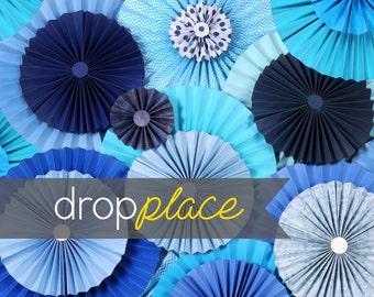 Durable Matte Vinyl Backdrop Pinwheel Rosettes Blue Background Party Drop Photo Booth Photo Prop (Multiple Sizes Available)
