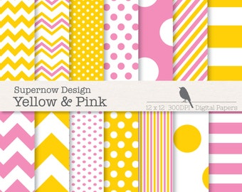 FREE COMMERICAL use Pink & Yellow Scrapbooking Papers. Mixed Yellow and Pink Digital Paper Pack. Chevrons, Polka Dots, Stripes.