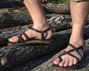 Brown leather sandals men, sandals, flat sandals, strap sandals, adjustable sandals, comfortable sandals, platform sandals,