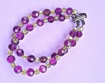 Bracelet, Austrian Crystals, Purple, Amethyst, Cube Crystals, LimeCrystals, Silver, Elegant, Gun Metal Slide Lock Clasp, Matching Necklace