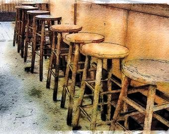 Wooden Line Up of Stools: Photo Art taken at Reading Terminal Market in Philadelphia