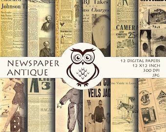 Digital Paper Newspaper Vintage, Digital paper pack - Set of 12 digital paper sheets / 12 pictures of newspapers in antique style