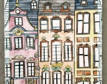 MAINZ GERMANY Original 7.5x11.5 Ink and Watercolor Painting