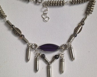 Amythyst bead and Tibetan silver  necklace