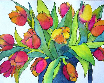 Tulips -  watercolor painting