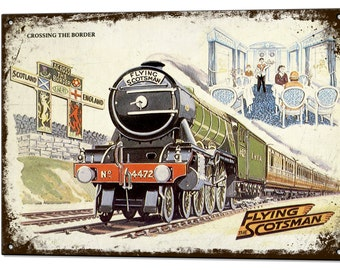 Flying Scotsman Train Vintage Metal Sign Retro Tin Plaque Advert