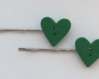 Beautiful wooden heart shaped button hair slides, grips, clips, bobby pins, kirby grips