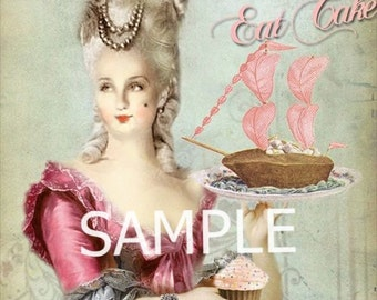 Marie Antoinette  *Let them eat cake* Fabric Block  14-0174 FREE SHIPPING