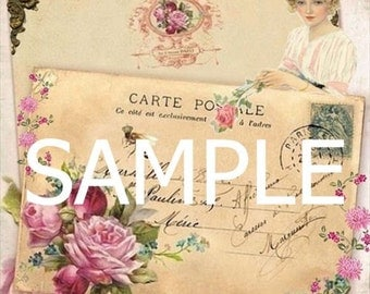 Fabric Block *French Postcard* Collage 14-0249 FREE SHIPPING