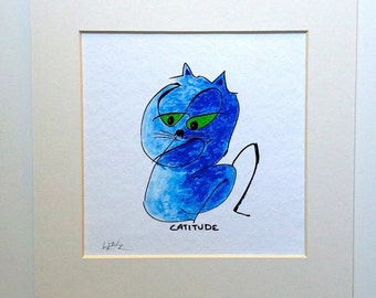 Blue Cat Giclee Art Print Catitude Whimsey 16x20 Matted