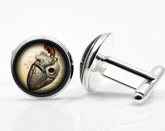 Cufflinks Steampunk anatomic heart  cufflink Steampunk heart Cufflinks men accessories cuff links