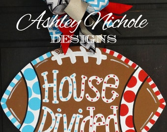 House Divided Football Door Hanger, Door Decoration,  Fall Wreath, Wooden Football