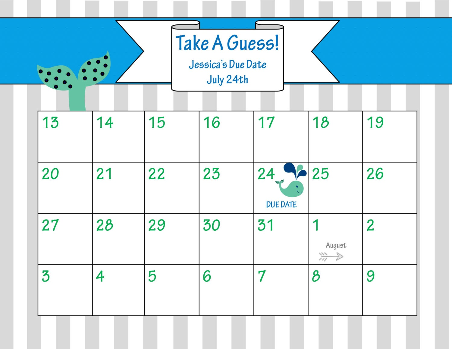 Nautical Due Date Calendar / Arrival Date / Whale Baby Shower