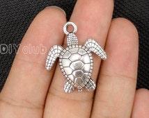 12pcs of Antique Tibetan silver Turtle charms pendants 29x25mm