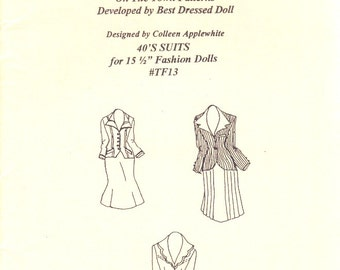 Pattern for 15.5 fashion dolls 1940's Suits Tonner Tyler Gene