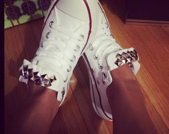 Converse Custom Studded Chucks - White Converse-ALL SIZES & COLORS! Summer Shoes; Wedding Shoes; Festivial Shoes; Summer Shoes; Fitness Shoe