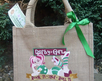 personalised embroidered derby girl jute bag
